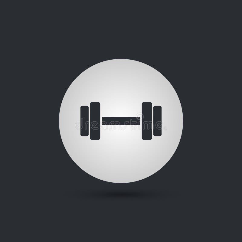 Icono de las pesas de gimnasia Símbolo del deporte de la aptitud Equipo del entrenamiento del gimnasio Botones del círculo con la ilustración del vector