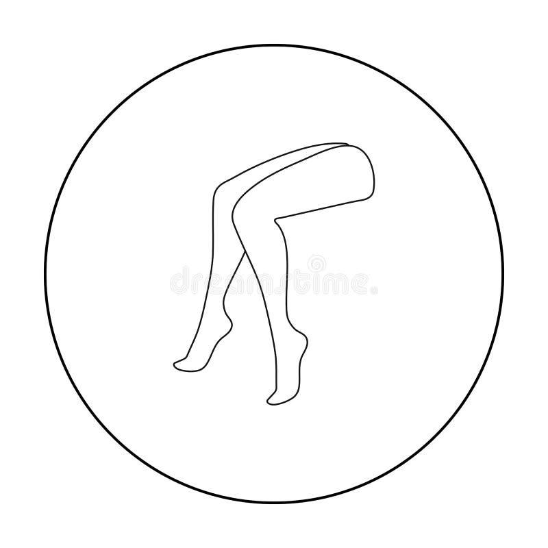 Icono de las piernas en estilo del esquema aislado en el fondo blanco Parte del ejemplo del vector de la acción del símbolo del c libre illustration