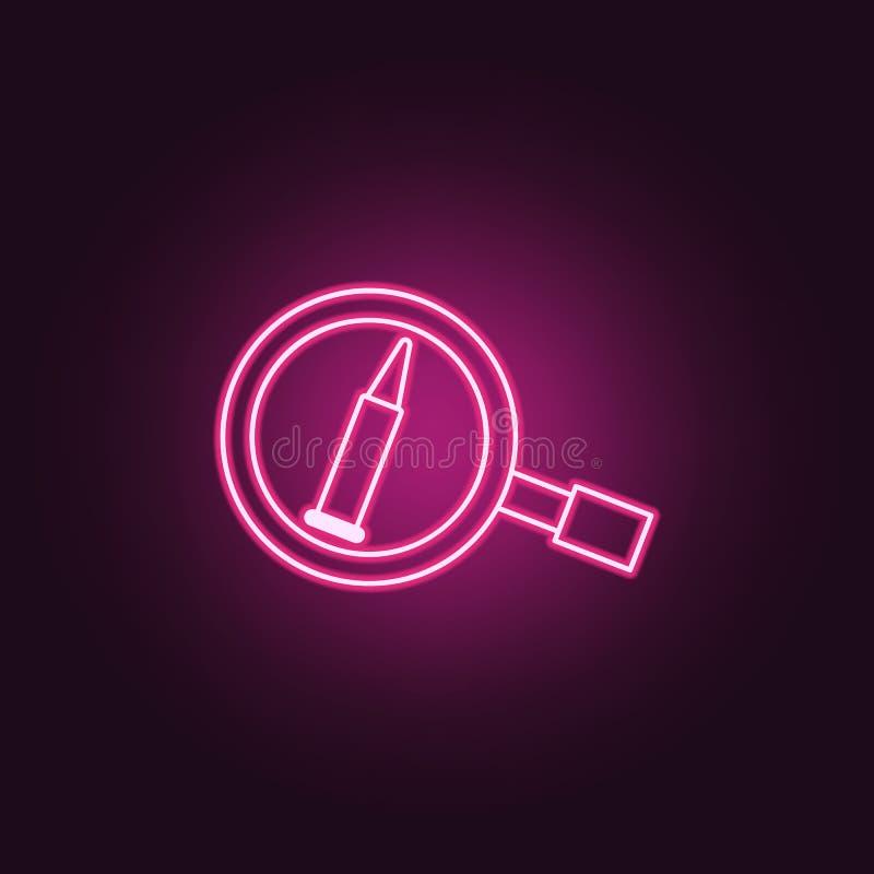icono de las pruebas de la bala Elementos de la investigación del crimen en los iconos de neón del estilo Icono simple para las p ilustración del vector