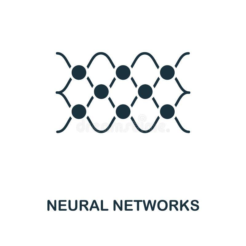 Icono de las redes neuronales Diseño monocromático del estilo de la colección del icono del aprendizaje de máquina UI y UX Icono  libre illustration