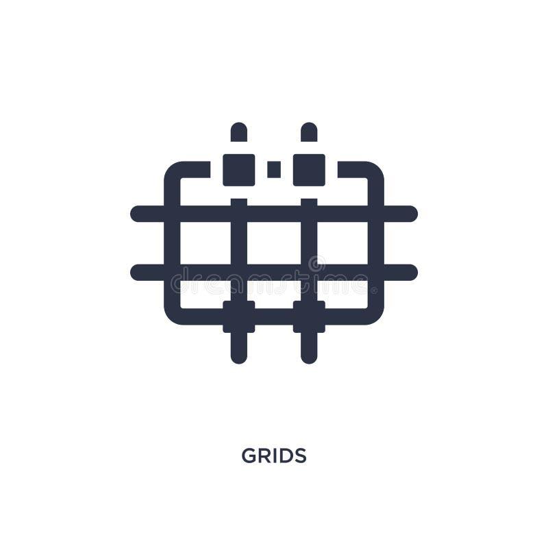 icono de las rejillas en el fondo blanco Ejemplo simple del elemento de la figura geométrica concepto libre illustration