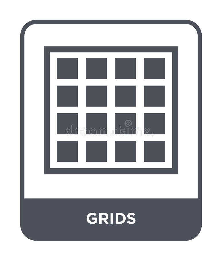 icono de las rejillas en estilo de moda del diseño icono de las rejillas aislado en el fondo blanco símbolo plano simple y modern ilustración del vector