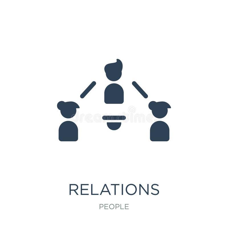 icono de las relaciones en estilo de moda del diseño icono de las relaciones aislado en el fondo blanco plano simple y moderno de libre illustration
