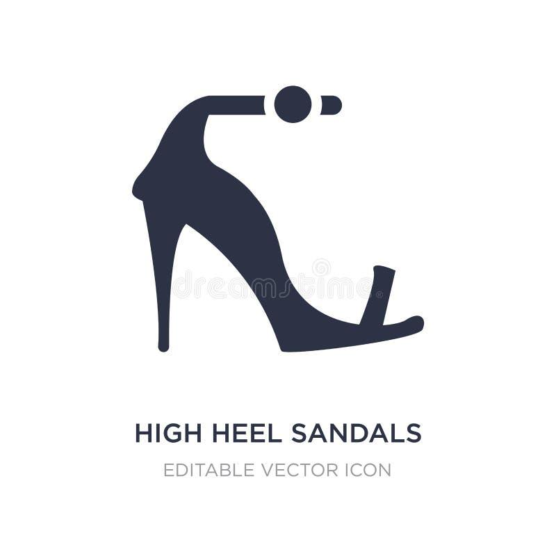 Icono de las sandalias del tacón alto en el fondo blanco Ejemplo simple del elemento del concepto de la moda ilustración del vector