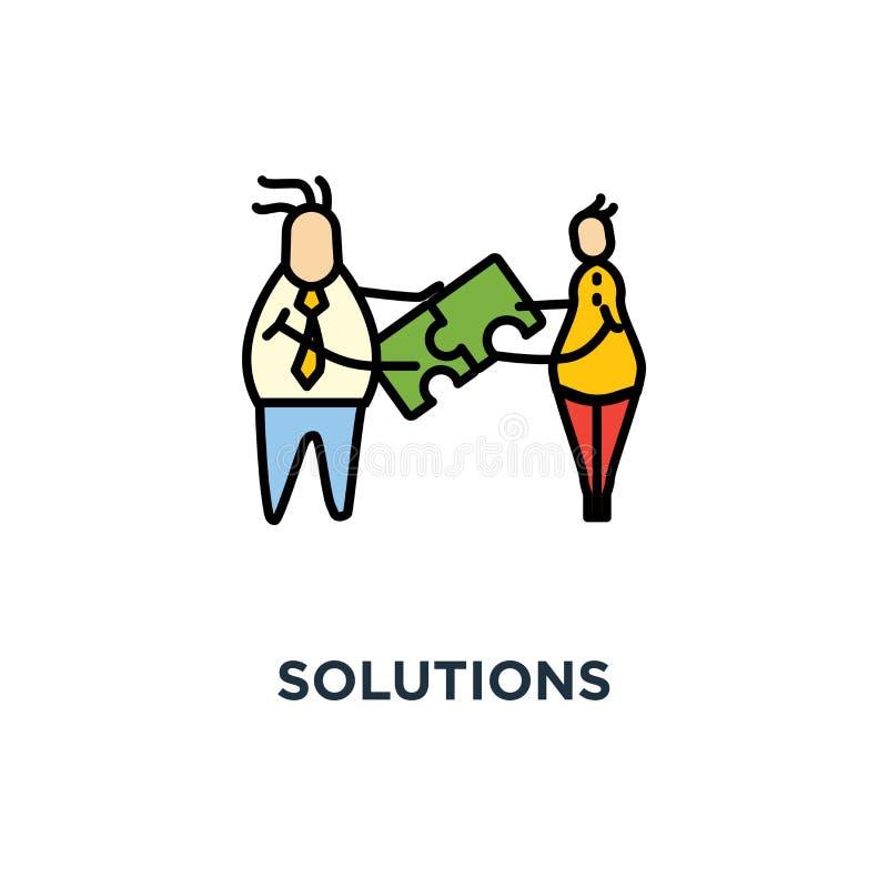 icono de las soluciones compatibilidad, ui para la web y diseño móvil, diseño del símbolo del concepto, compuesto, trabajo en equ libre illustration