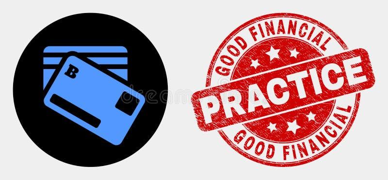 Icono de las tarjetas de banco del vector y apenar el buen sello financiero de la práctica libre illustration