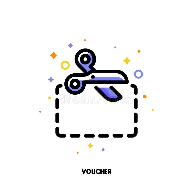 Icono de las tijeras que cortan el papel que simboliza el vale o el boleto del descuento para el concepto de las compras del dine stock de ilustración