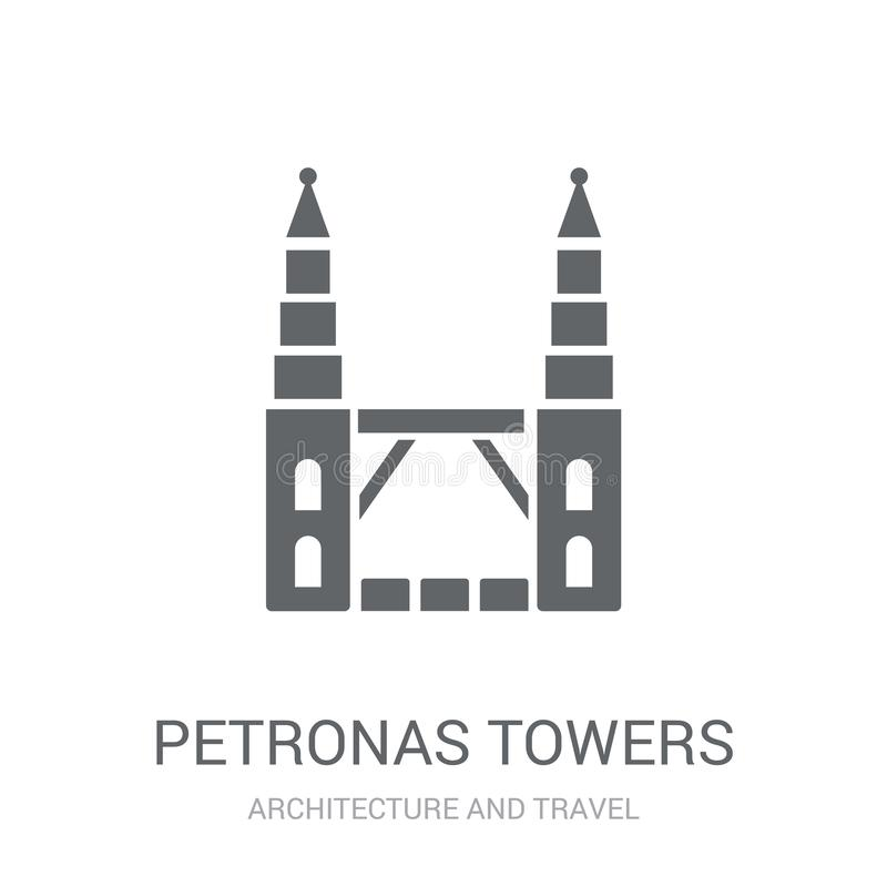 Icono de las torres de Petronas Concepto de moda del logotipo de las torres de Petronas en whi ilustración del vector