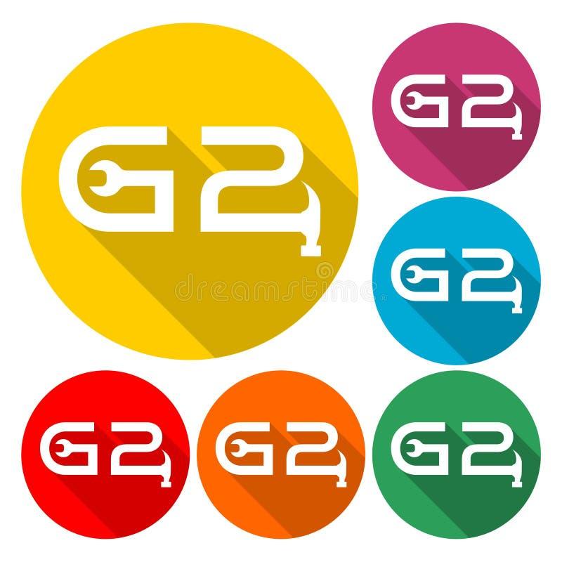 Icono de letra G2 con sombra larga stock de ilustración