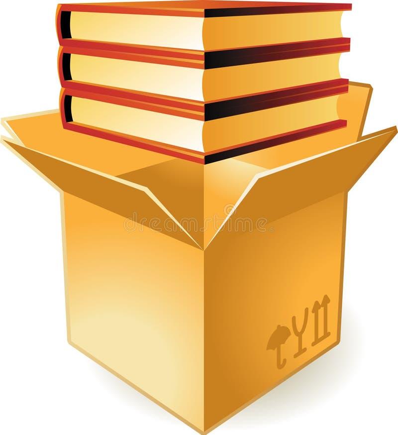 Icono de libros en rectángulo stock de ilustración
