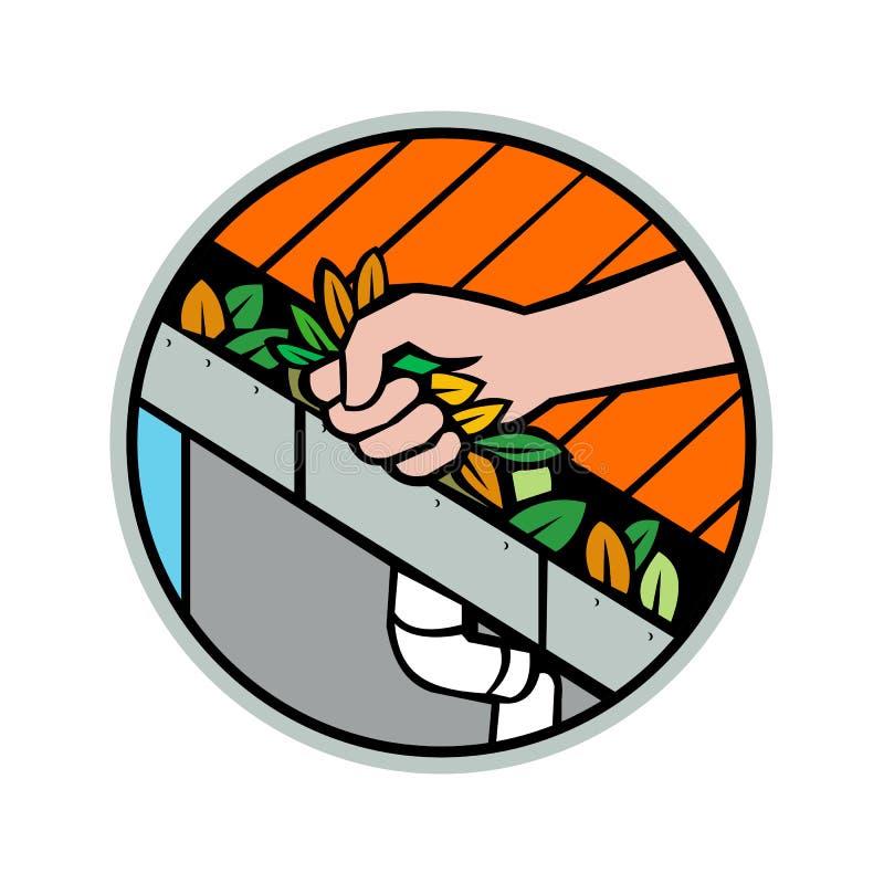 Icono de limpieza del canal de la lluvia del tejado de la mano ilustración del vector
