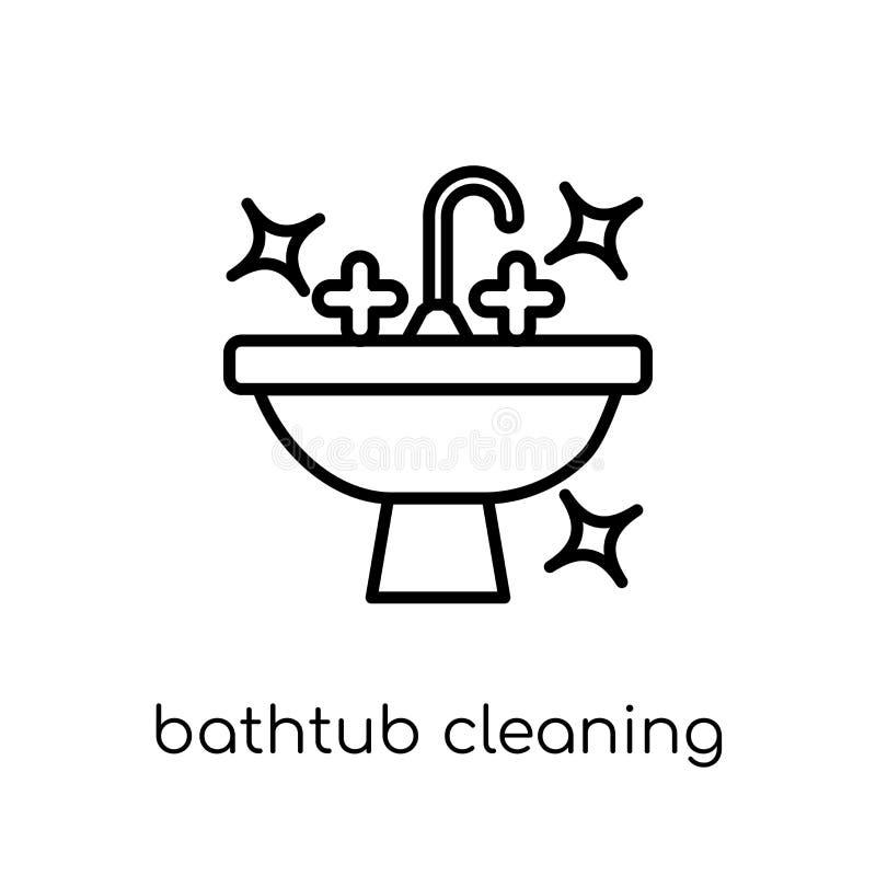 Icono de limpieza de la bañera Bañera linear plana moderna de moda del vector libre illustration