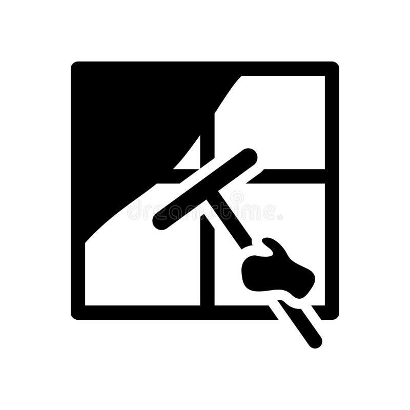 Icono de limpieza de la ventana Concepto de limpieza de moda del logotipo de la ventana en whi stock de ilustración