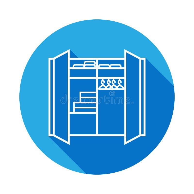 icono de lino del armario con la sombra Elemento de los muebles para los apps móviles del concepto y del web Línea fina icono par ilustración del vector