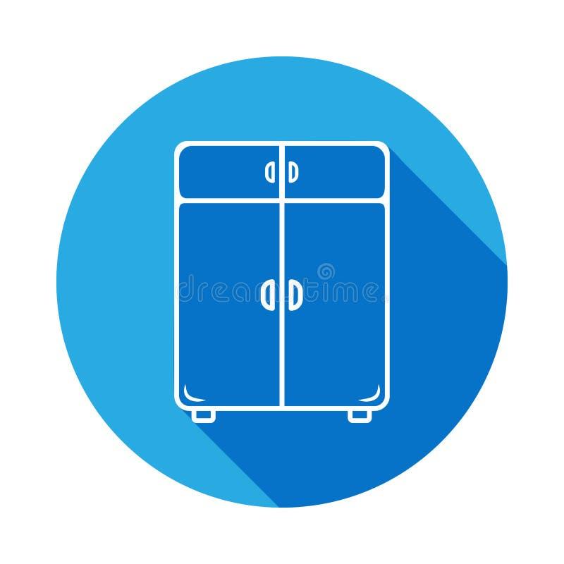 icono de lino del armario con la sombra Elemento de los muebles para los apps móviles del concepto y del web Línea fina icono par stock de ilustración