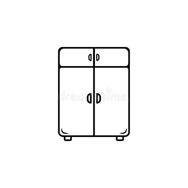 icono de lino del armario Elemento de los muebles para los apps móviles del concepto y del web Línea fina icono para el diseño y  stock de ilustración