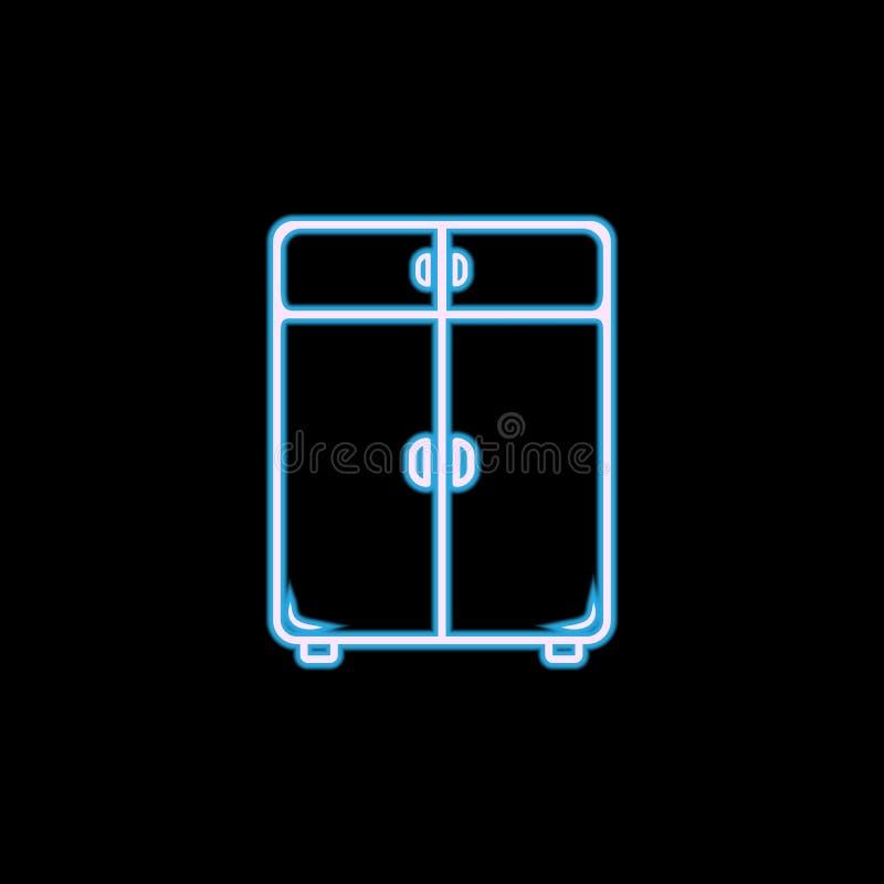 icono de lino del armario en el estilo de neón Uno del icono de la colección de los muebles se puede utilizar para UI, UX libre illustration