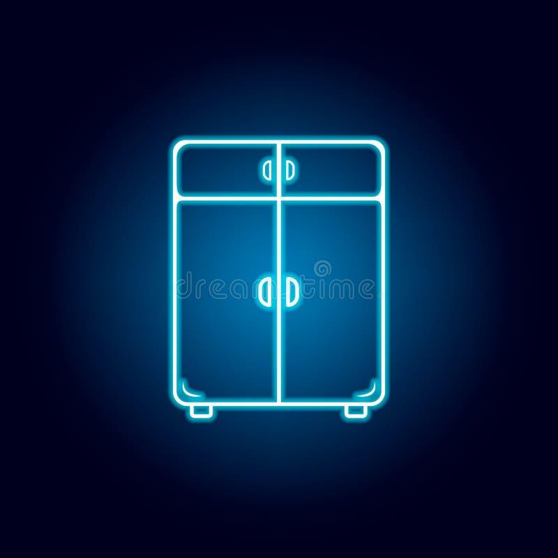 icono de lino del armario en el estilo de ne?n Elemento de los muebles para los apps m?viles del concepto y del web L?nea fina ic stock de ilustración