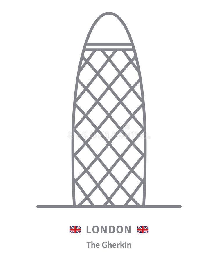 Icono de Londres con el edificio del pepinillo y la bandera británica libre illustration