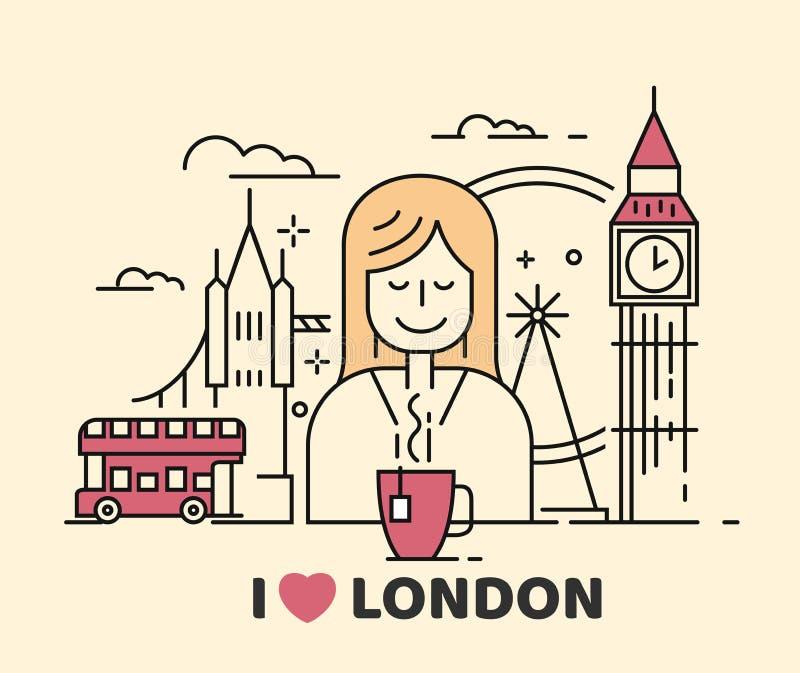 Icono de Londres del vector con la muchacha y el té libre illustration