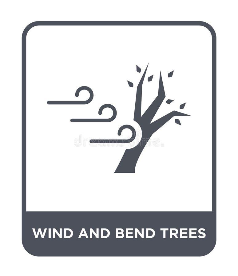 icono de los árboles del viento y de la curva en estilo de moda del diseño icono de los árboles del viento y de la curva aislado  libre illustration