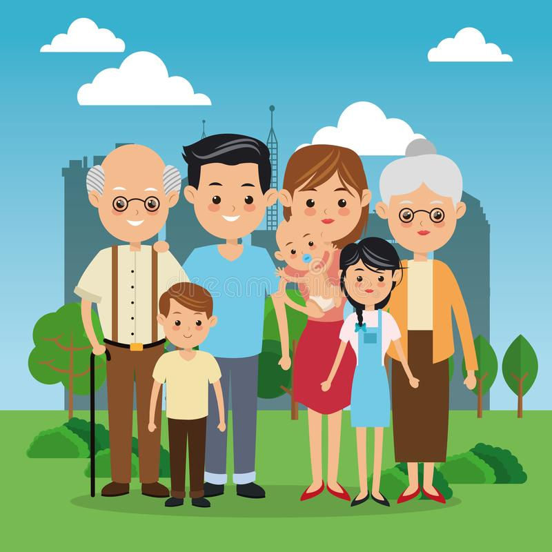 Icono de los abuelos, de los padres y de los niños Diseño de la familia Ciudad Landsca libre illustration