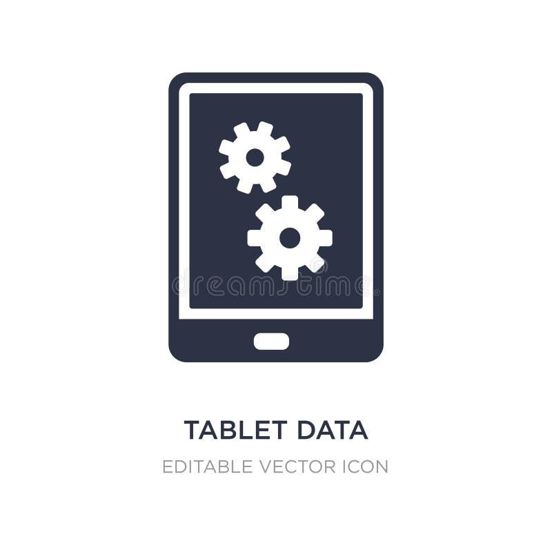 icono de los ajustes de los datos de la tableta en el fondo blanco Ejemplo simple del elemento del concepto del ordenador stock de ilustración