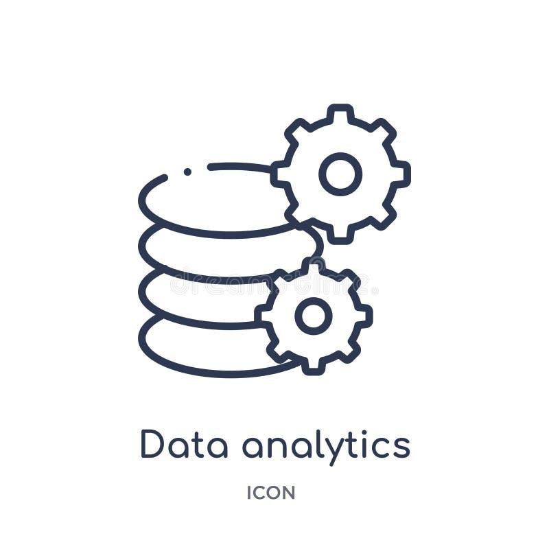 icono de los ajustes del analytics de los datos de la colección del esquema de la interfaz de usuario Línea fina icono de los aju ilustración del vector