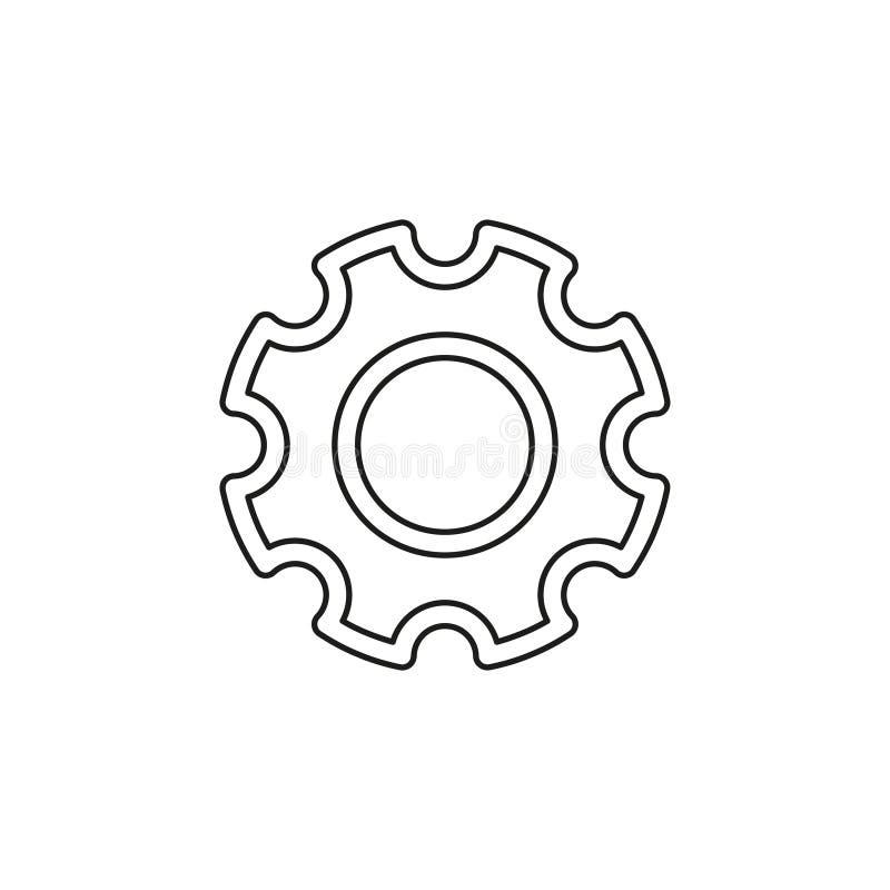 Icono de los ajustes de los engranajes - mecanismo de engranaje de la rueda dentada stock de ilustración