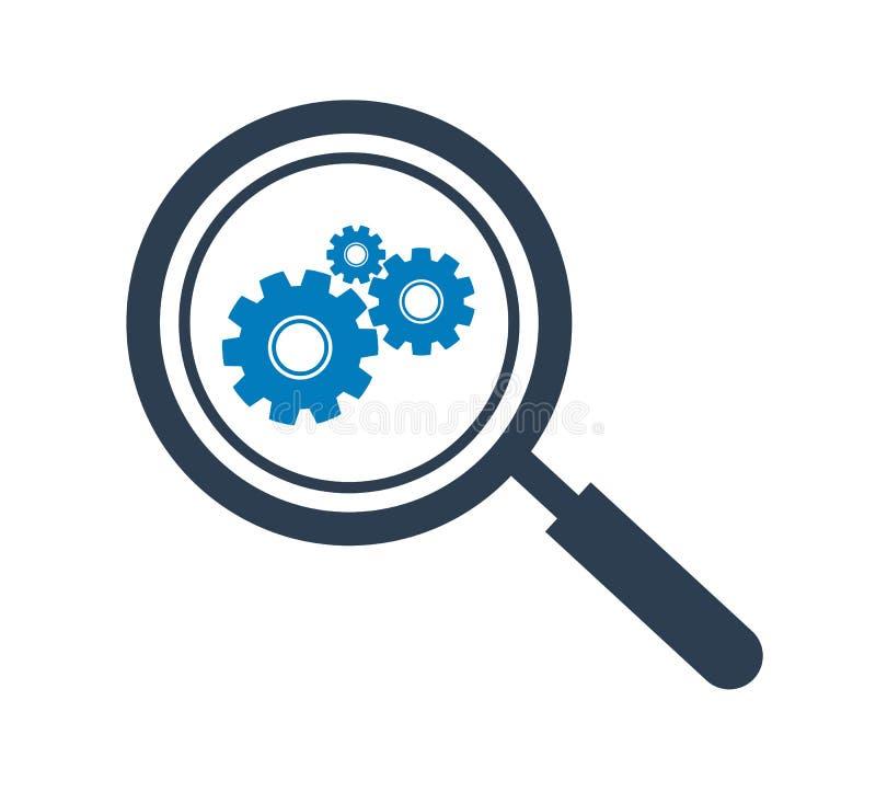 Icono de los ajustes de la búsqueda stock de ilustración