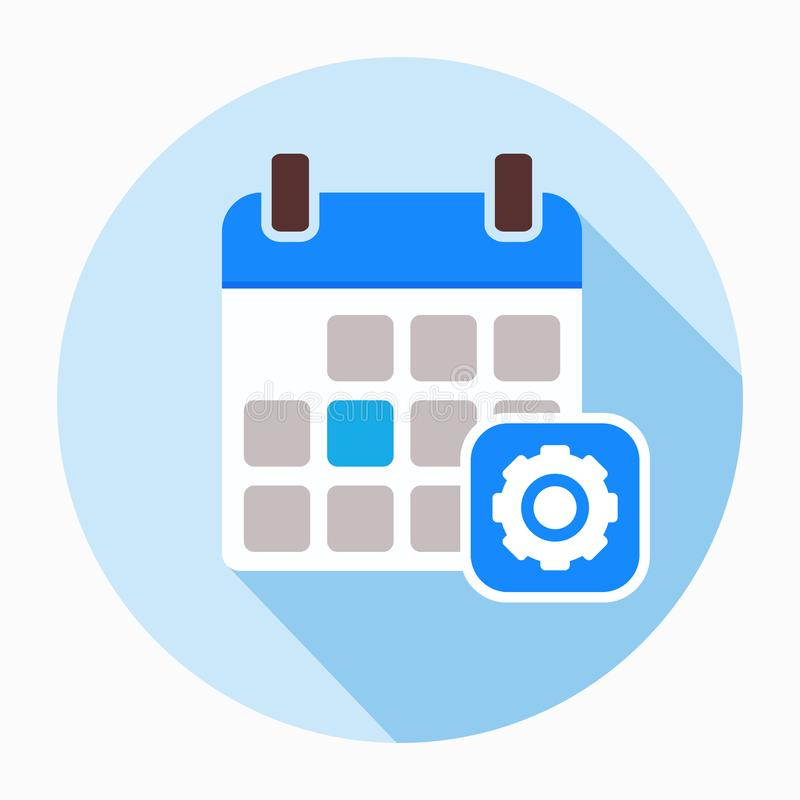 Icono de los ajustes de las opciones del engranaje de la configuración del calendario ilustración del vector