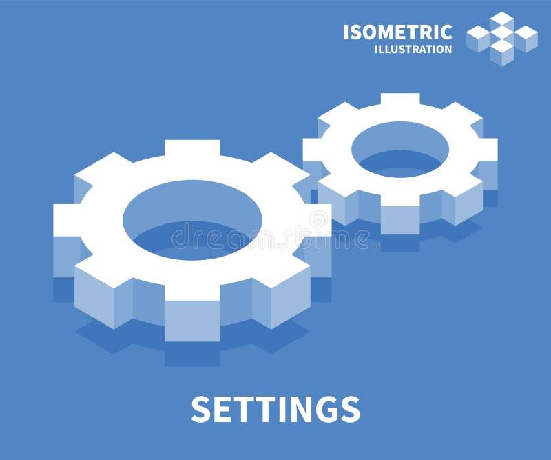 Icono de los ajustes Plantilla isométrica para el diseño web en el estilo plano 3D Ilustración del vector stock de ilustración