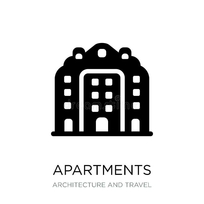icono de los apartamentos en estilo de moda del diseño icono de los apartamentos aislado en el fondo blanco icono del vector de l stock de ilustración