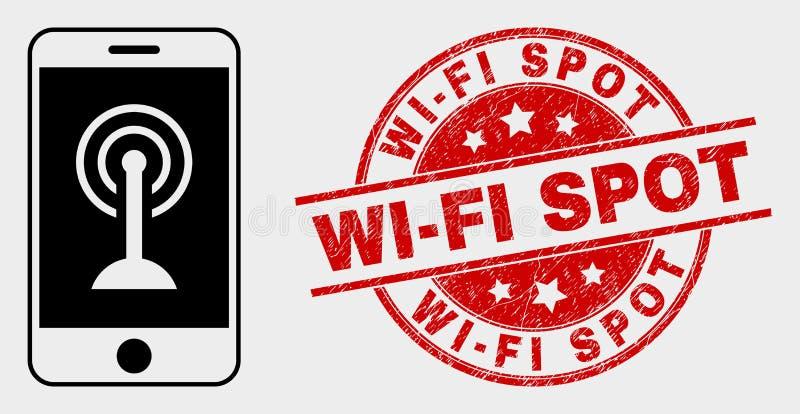 Icono de los apuroses del Wi-Fi de Smartphone del vector y filigrana del punto del Wi-Fi del Grunge libre illustration
