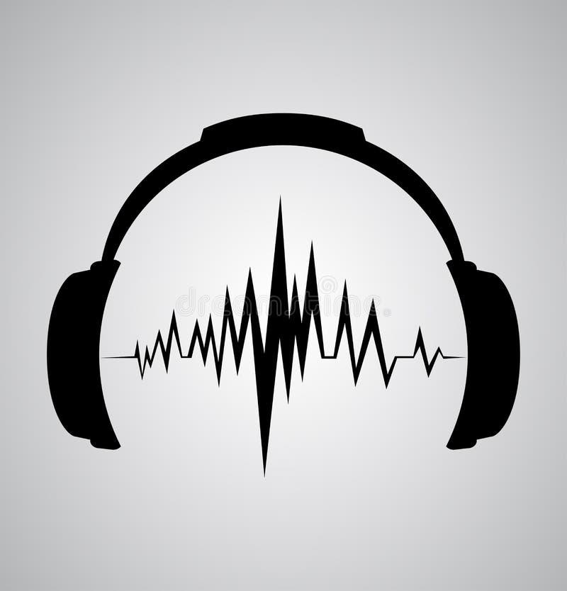 Icono de los auriculares con golpes de la onda acústica stock de ilustración