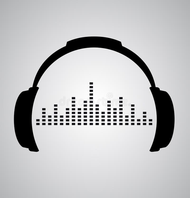 Icono de los auriculares con golpes de la onda acústica libre illustration