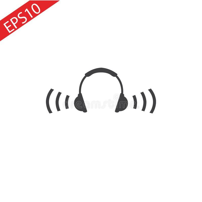 Icono de los auriculares con golpes de la onda acústica Ejemplo plano del vector stock de ilustración