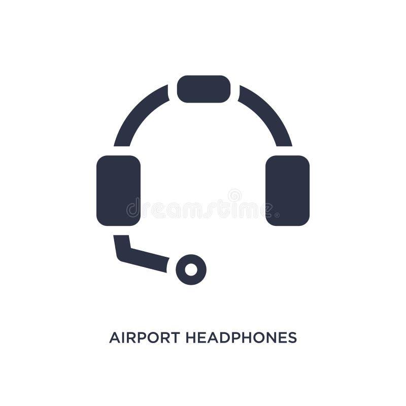 icono de los auriculares del aeropuerto en el fondo blanco Ejemplo simple del elemento del concepto del terminal de aeropuerto libre illustration