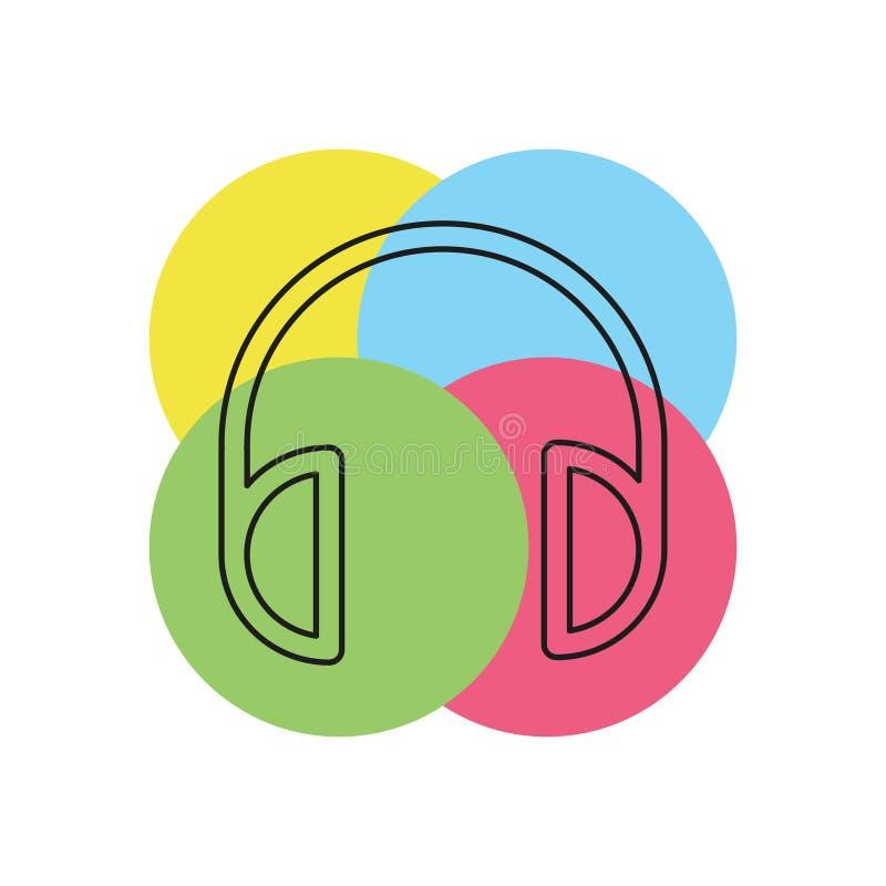 Icono de los auriculares del vector - música sana stock de ilustración