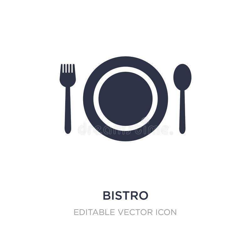 icono de los bistros en el fondo blanco Ejemplo simple del elemento del concepto de la comida stock de ilustración