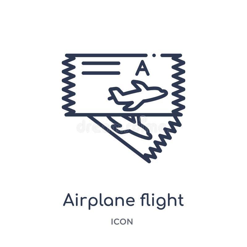 icono de los boletos del vuelo del aeroplano de la colección del esquema del transporte Línea fina icono de los boletos del vuelo ilustración del vector