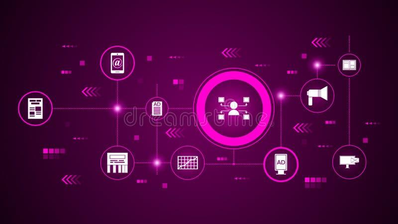 icono de los canales de distribución Del márketing de Digitaces, sistema de la promoción stock de ilustración