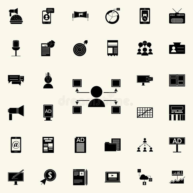 icono de los canales de distribución Sistema universal de los iconos del márketing de Digitaces para el web y el móvil ilustración del vector