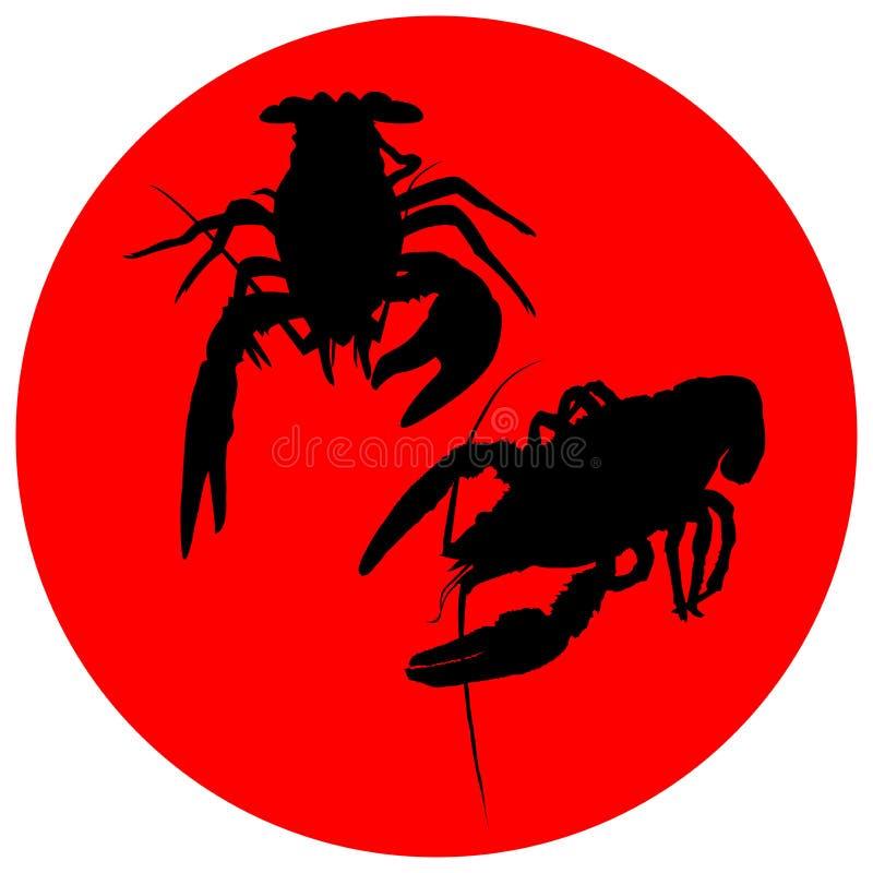 Icono de los cangrejos Langosta del río, langoustine o delicadezas crustáceas aislados en el fondo blanco Diseño de los mariscos  libre illustration