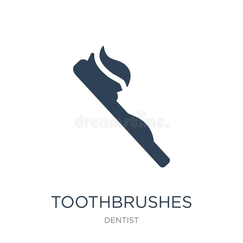 icono de los cepillos de dientes en estilo de moda del diseño icono de los cepillos de dientes aislado en el fondo blanco icono d stock de ilustración
