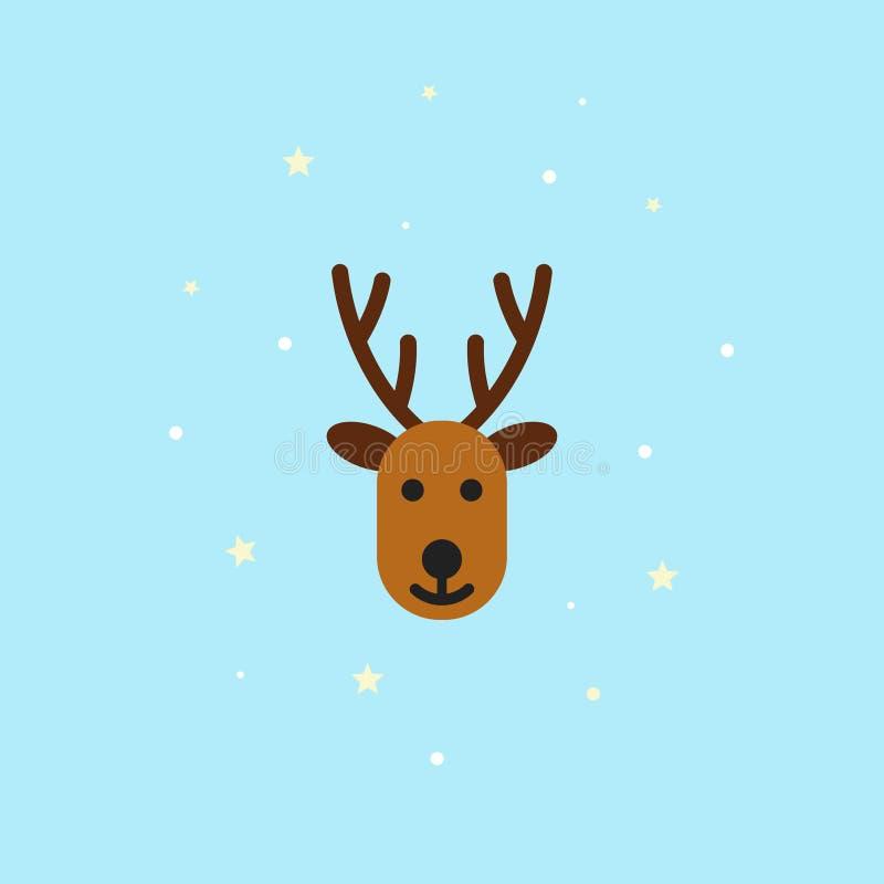 Icono de los ciervos de la Navidad en el estilo plano - ejemplo libre illustration
