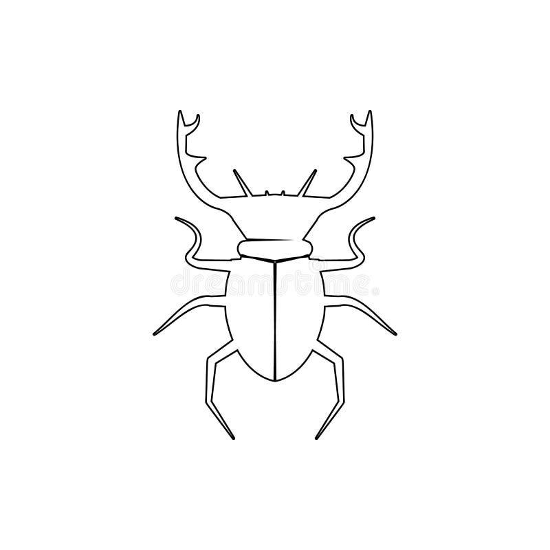 icono de los ciervos del escarabajo Elemento del insecto para el concepto y el icono móviles de los apps de la web Línea fina ico ilustración del vector