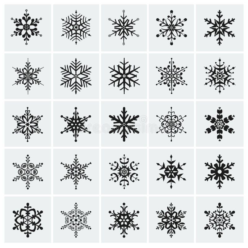 Icono de los copos de nieve. Sistema del vector. stock de ilustración