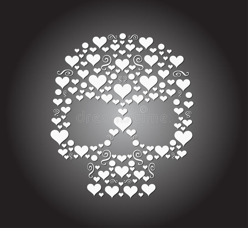 Icono de los corazones del cráneo stock de ilustración