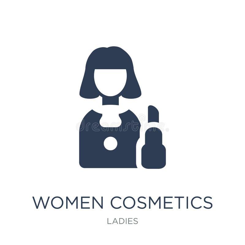 Icono de los cosméticos de las mujeres Icono plano de moda de los cosméticos de las mujeres del vector encendido ilustración del vector